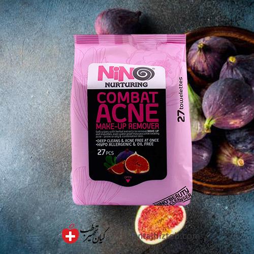 دستمال مرطوب پاک کننده آرایش ضد جوش نینو