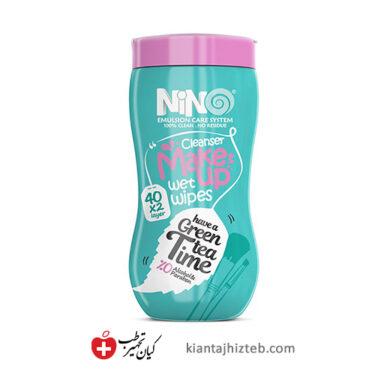 دستمال مرطوب پاک کننده آرایش نینو چای سبز 40 برگ دو لایه
